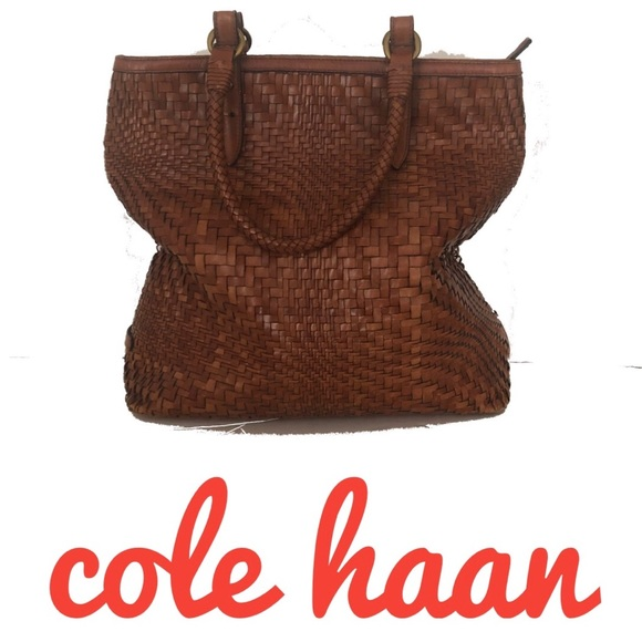 Cole Haan Handbags - Cole Haan Woven huarache Leather Bucket Tote Bag